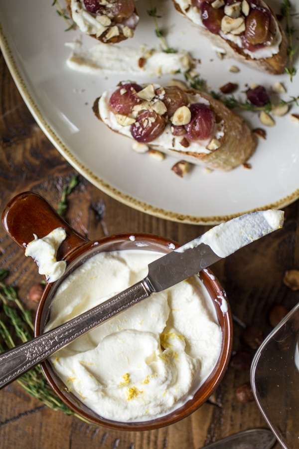 Roasted Grape Crostini with Whipped Ricotta and Hazelnuts - the perfect summertime appetizer or anytime snack!