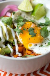 Sweet Potato Power Bowls | 10 Vegetarian Runny Egg Recipes | These meatless recipes are loaded with drippy eggs, veggies, and plenty of avocado!