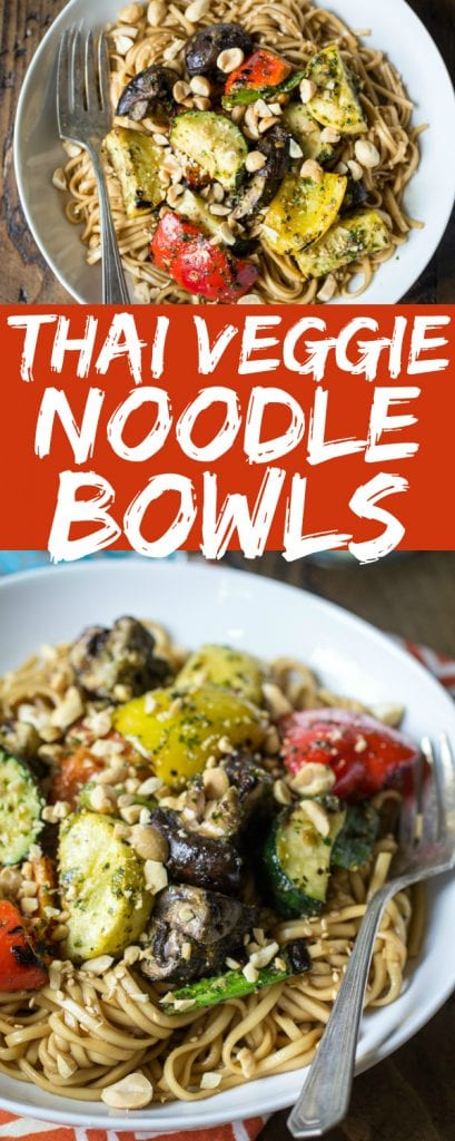 This Thai Vegetarian Noodle Bowl recipe has delicious grilled veggies on noodles and topped with chopped peanuts to satisfy all your noodly needs!