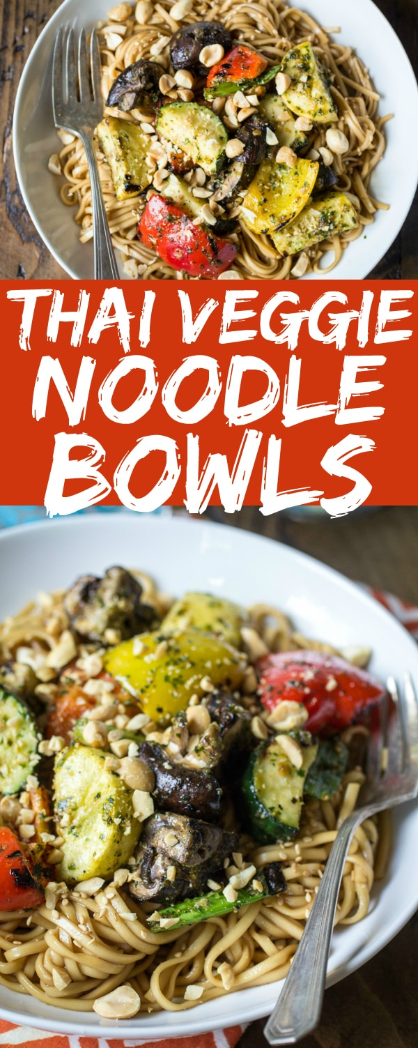 Noodle bowls have been scientifically proven to be the most important of all food groups. These Grilled Thai Veggie Noodle Bowls are topped with chopped peanuts and are sure to satisfy all your noodly needs!