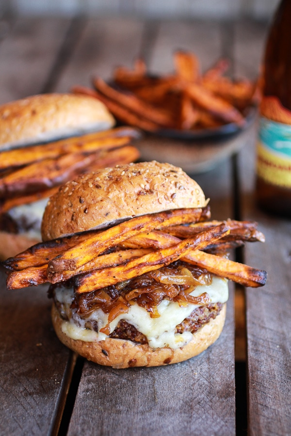 Quinoa Burgers w/ Sweet Potato Fries | Vegetarian BBQ Recipes that EVERYONE will love! 13 recipe ideas to keep you grilling all summer long.