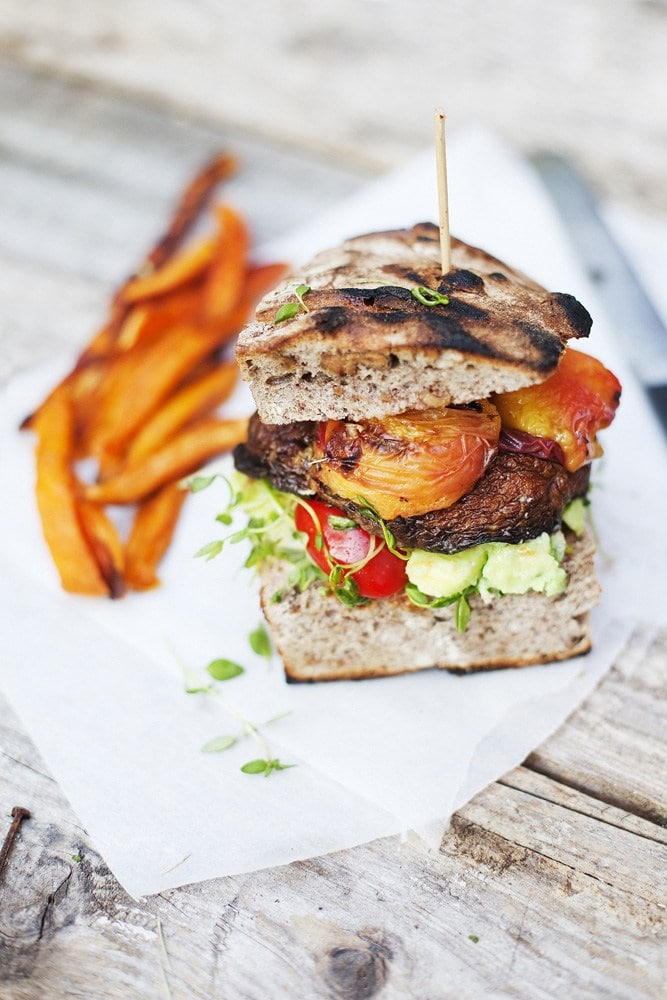 Portobello Peach Burger   Vegetarian BBQ Recipes aren't just for Meatless Monday! Enjoy these tasty meat-free recipes all summer long.