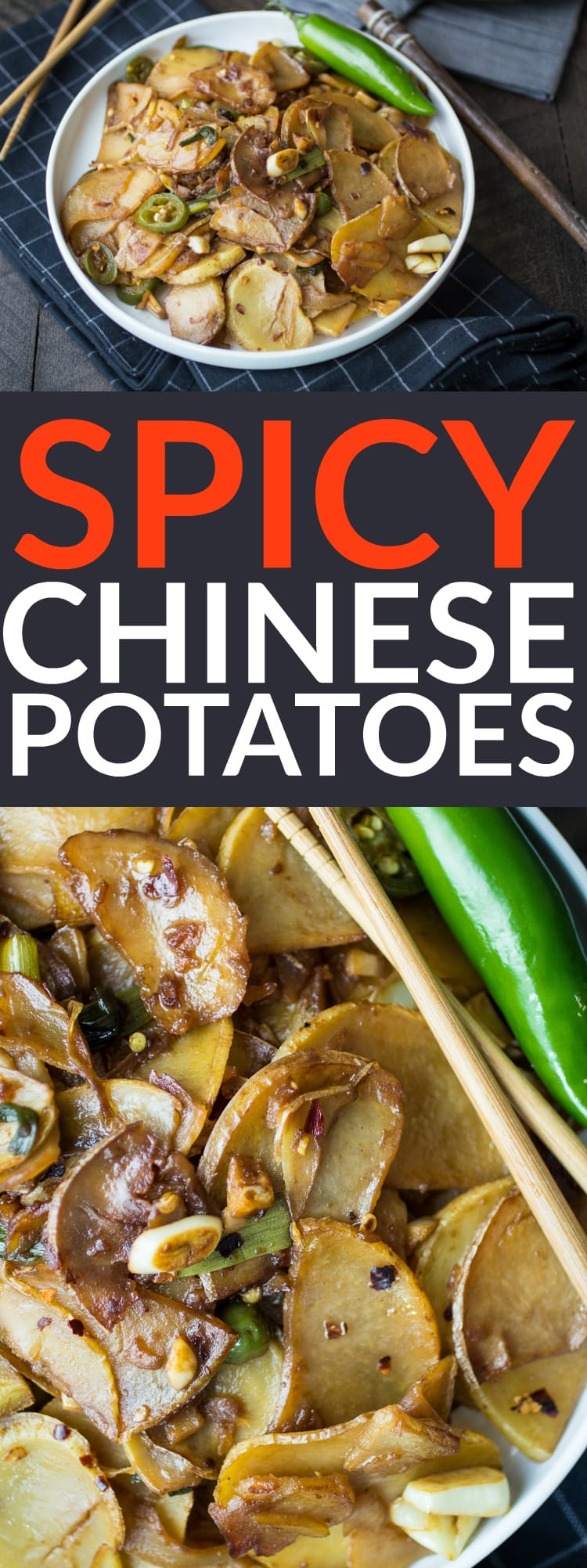 Spicy Chinese Potatoes are the perfect easy side dish for Chinese take-out night!