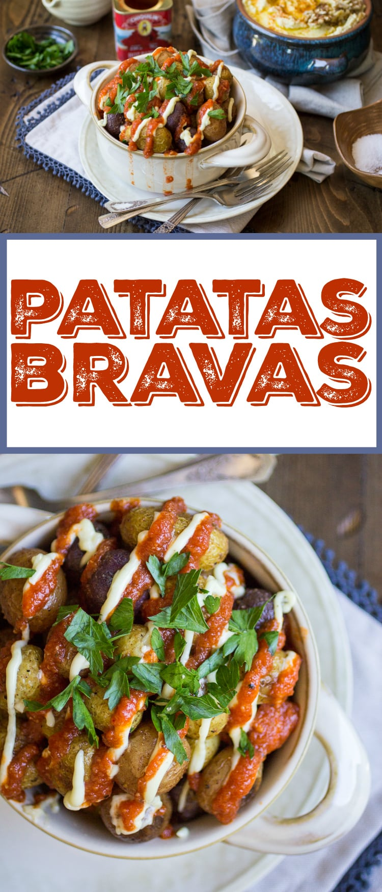 These Patatas Bravas are roasted, not fried, which makes them both easier and healthier! You'll love the easy tomato sauce -- the leftovers taste great on just about everything!