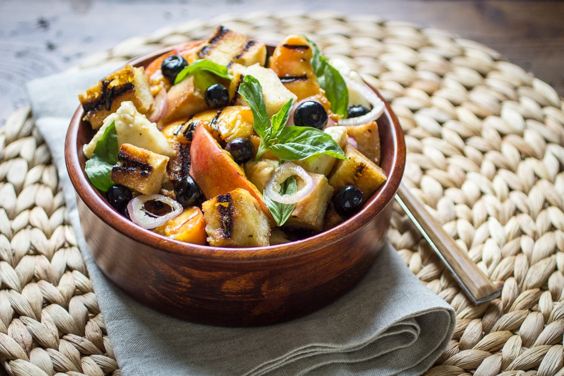 Grilled Panzanella is the perfect summer salad - blueberries, basil, and ripe peaches make this a delectable treat!