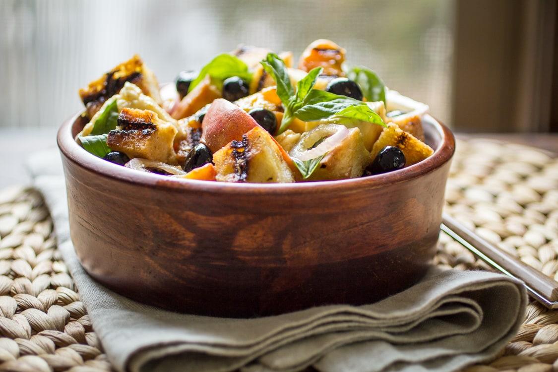 Grilled Panzanella Salad with PeachesThe Wanderlust Kitchen