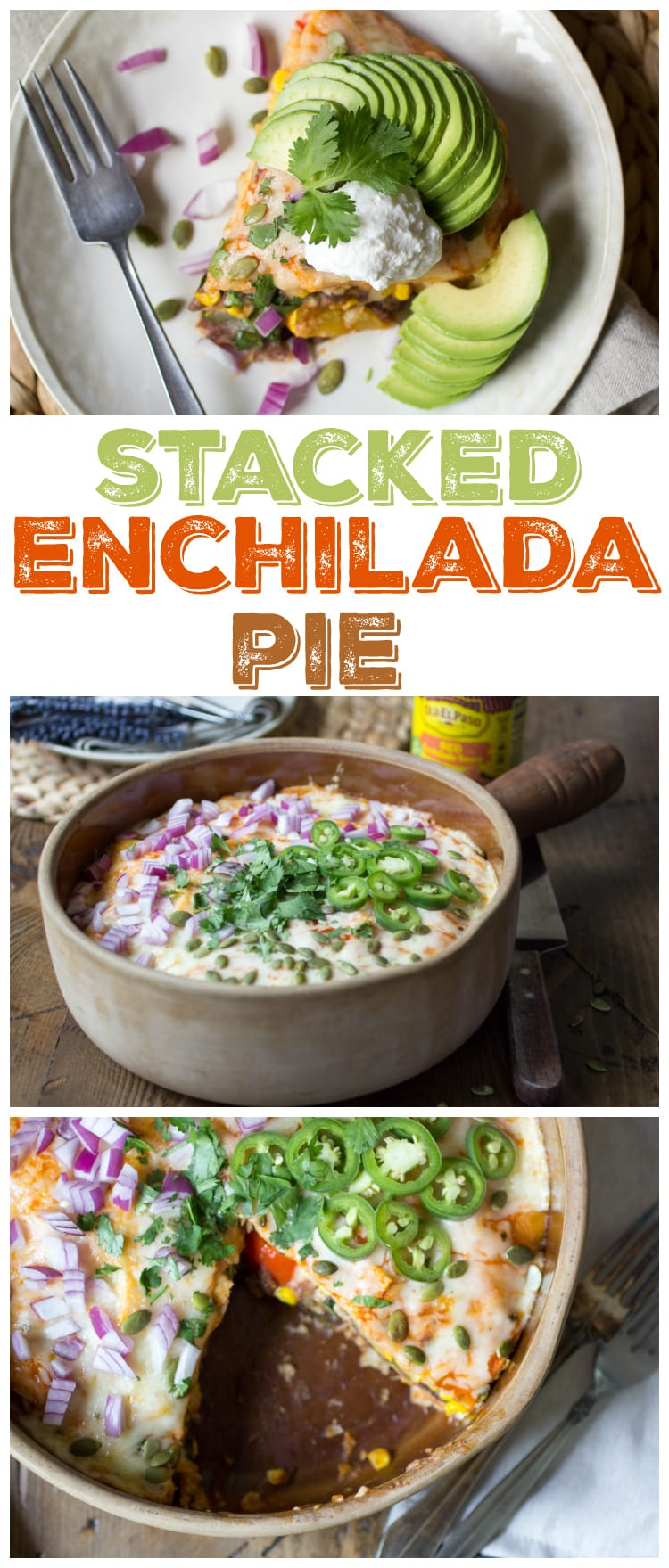 This stacked enchilada pie is filled with roasted summer vegetables, black refried beans, gooey cheese, and robust enchilada sauce. A dinner the whole family will love!