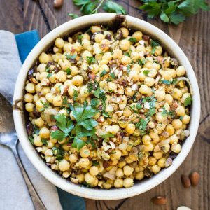 Dried dates and crunchy pistachios make this Moroccan Chickpea Salad both sweet and savory!