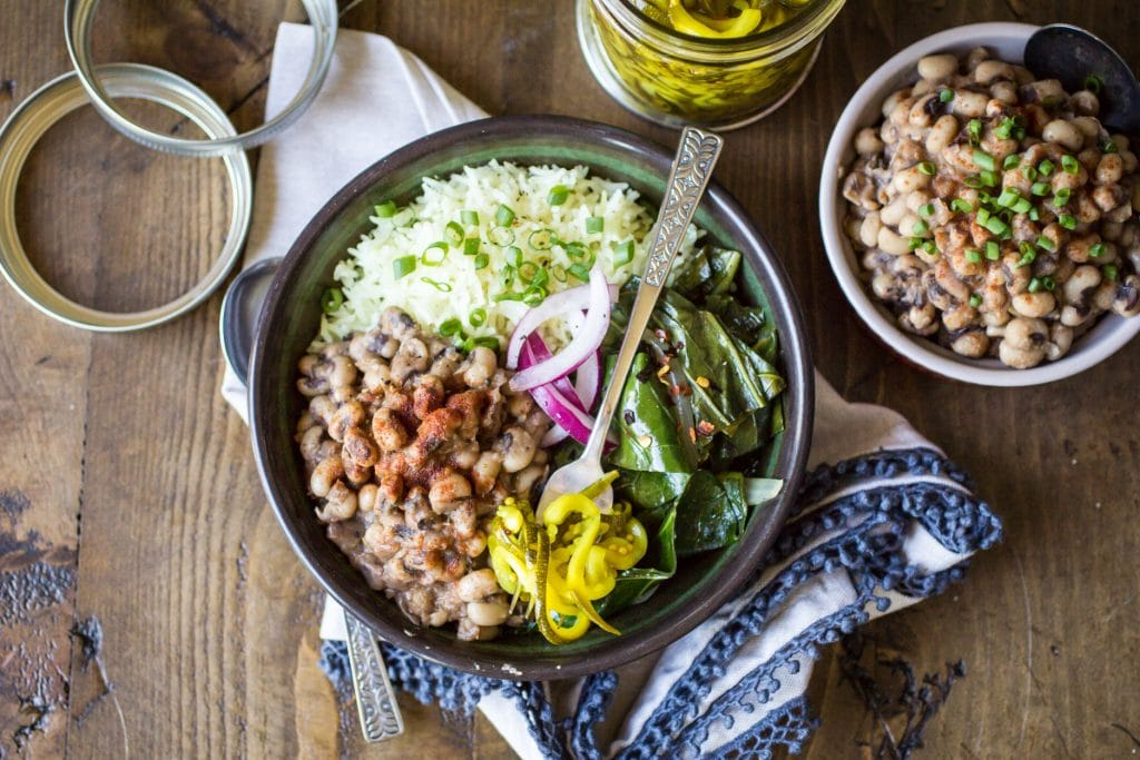 Looking for vegetarian southern food recipes?  Here is a great one! Vegan Southern Bowls are hearty, comforting, and the perfect way to use up some leftover black eyed peas!