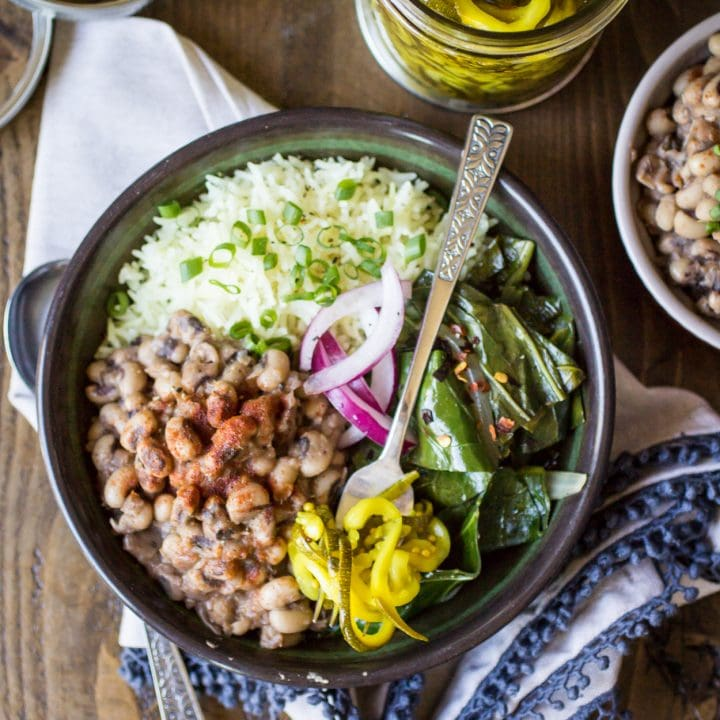 Vegan Southern Bowls are hearty, comforting, and the perfect way to use up some leftover black eyed peas!