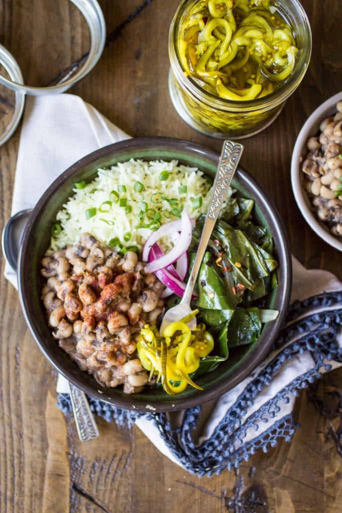 Looking for Southern vegetarian recipes? Try this one today! Vegan Southern Bowls are hearty, comforting, and the perfect way to use up some leftover black eyed peas!