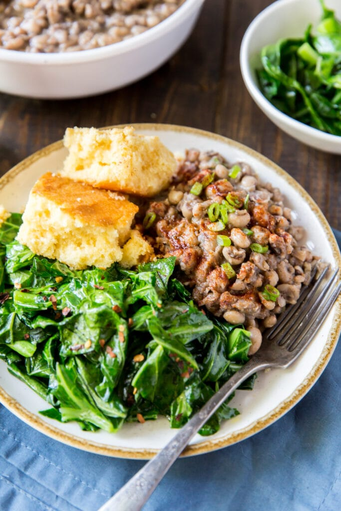 This vegan black eyed peas recipe gets a southern-style kick from hot sauce, spices, and a secret ingredient.