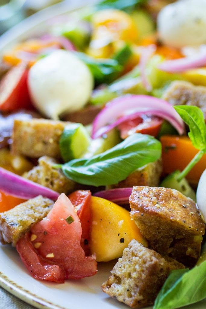 Enjoy the flavors of summer any time of year with this easy panzanella salad!