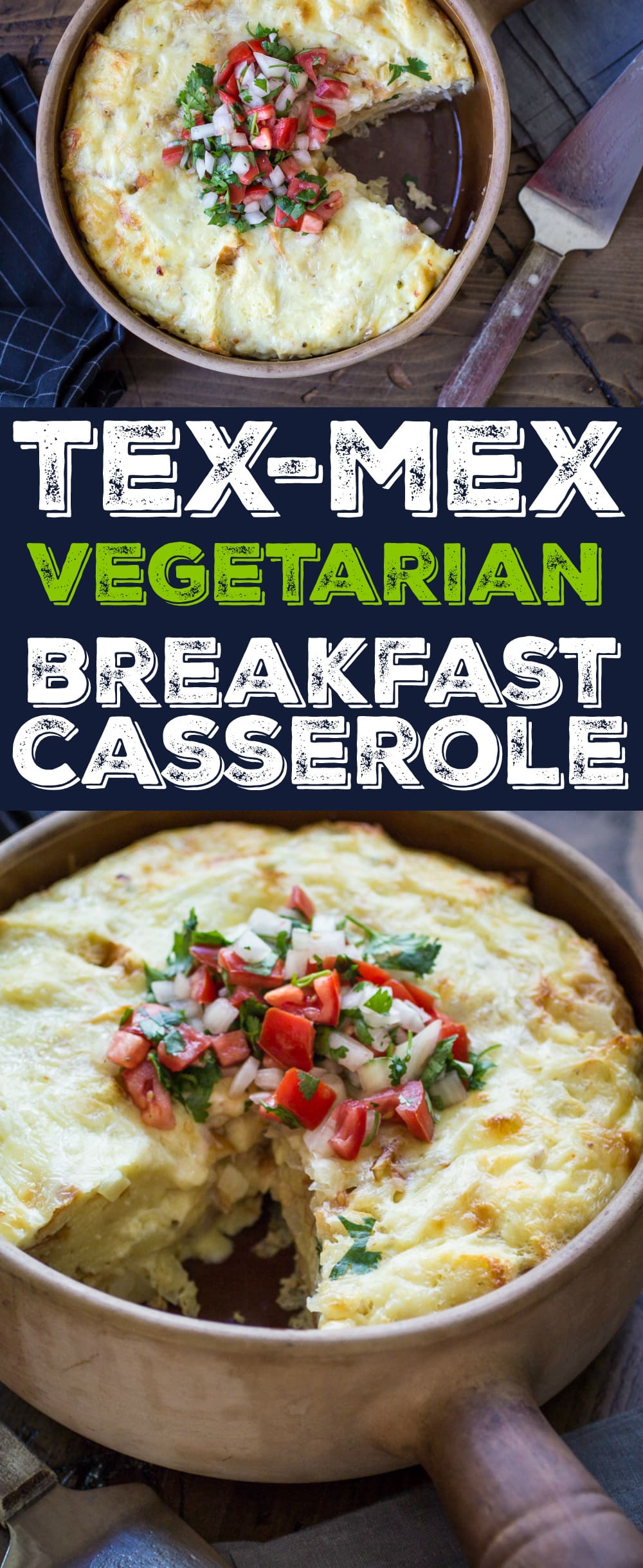 This easy Tex Mex Vegetarian Breakfast Casserole is made with layers of bread, onion, pepperjack cheese before being covered in a spiced egg and milk mixture. Customize it with your favorite toppings!