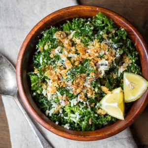 Lemony Wild Rice and Massaged Kale Salad