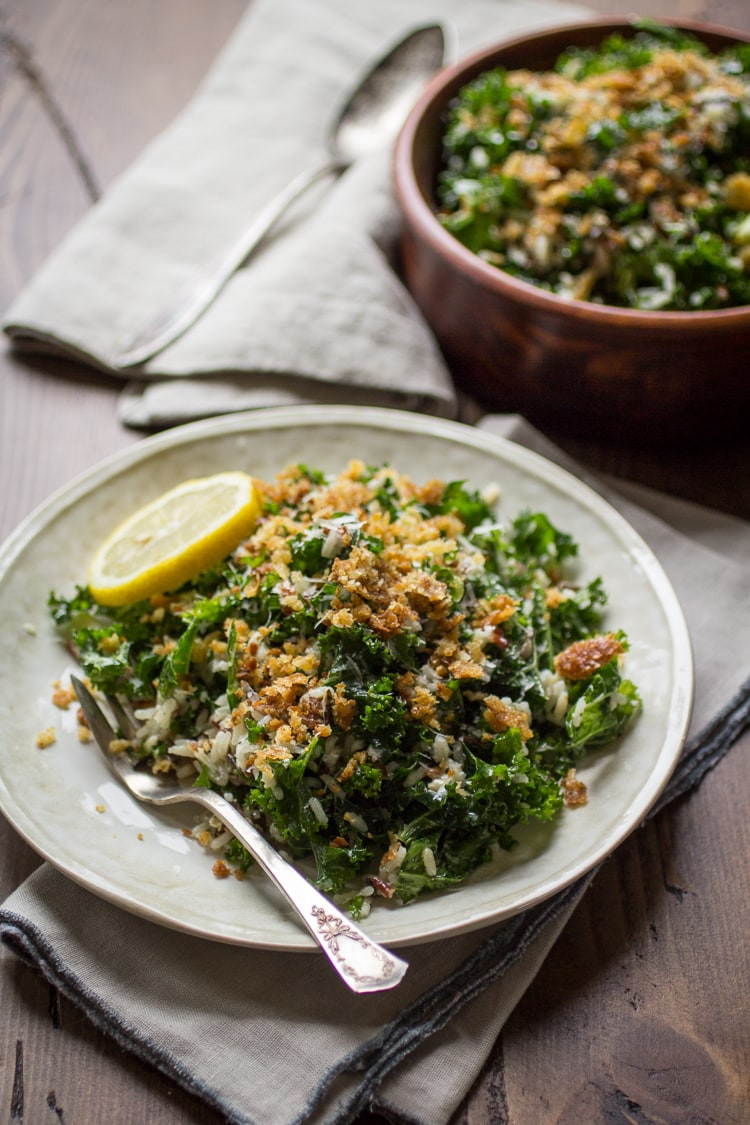 Quick and easy to put together, this massaged kale salad is made with wild rice, parmesan cheese, toasty bread crumbs and a lemony dressing. Delicious!