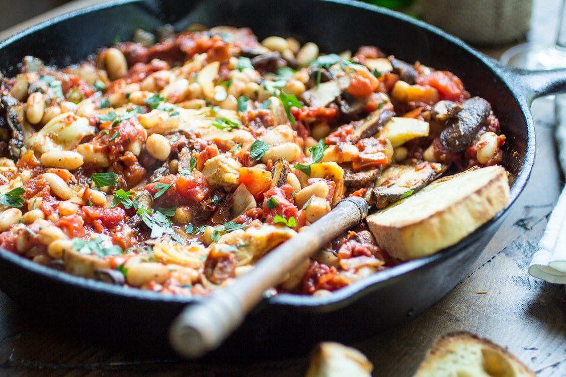 This vegetarian Tuscan white bean skillet is made from pantry staples for a quick weeknight dinner!