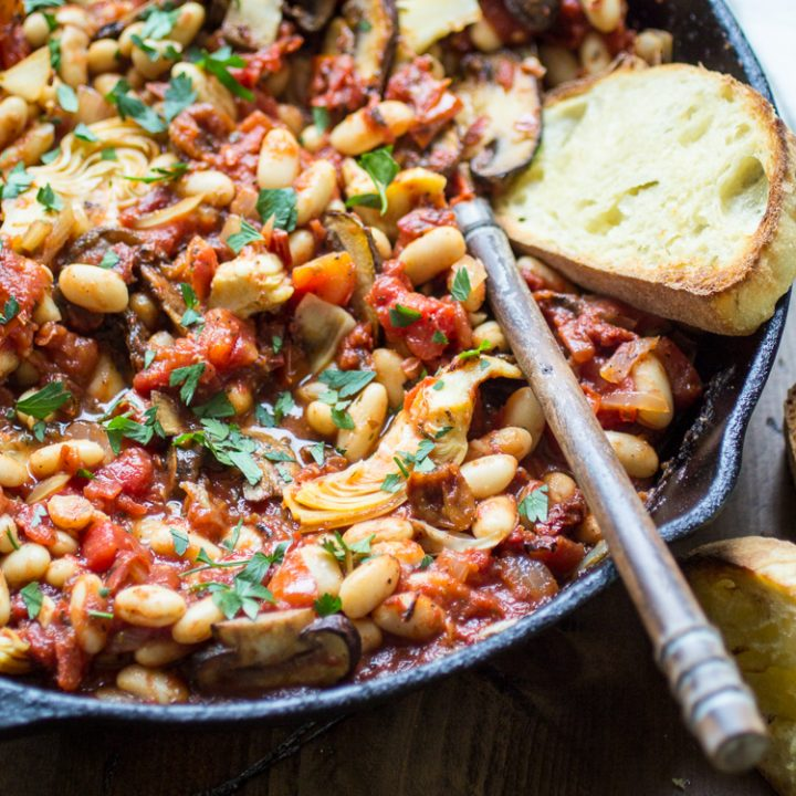 Tuscan White Bean Skillet with Tomatoes, Mushrooms, and Artichokes