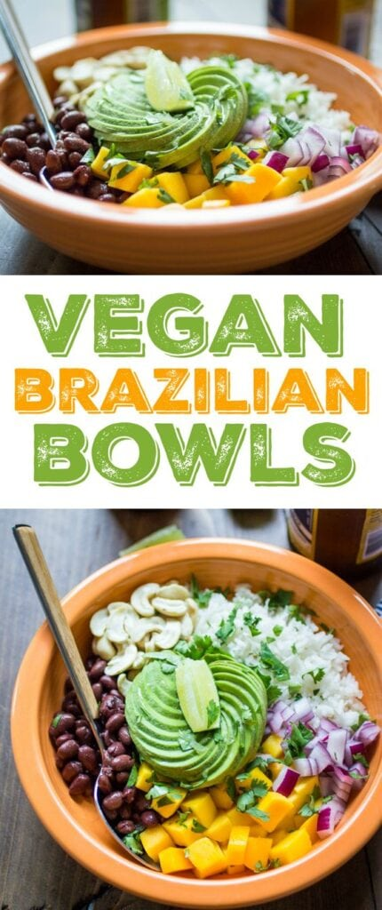 This Vegan Brazilian Bowl recipe is loaded with creamy coconut rice, black beans, mango, avocado, and cashews. Delicious flavors from Brazil!