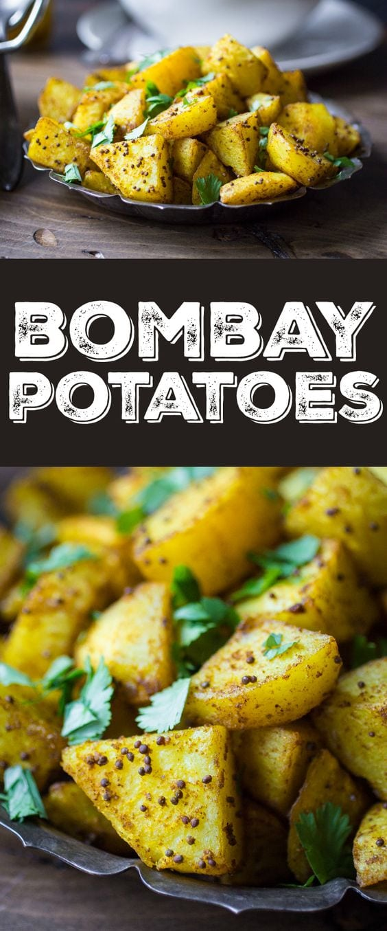 Looking for Indian potato recipes? Check out this one! Crispy on the outside, fluffy on the inside, and richly spiced with Indian flavors -- this Bombay Potatoes recipe is the perfect side dish for any Indian meal!