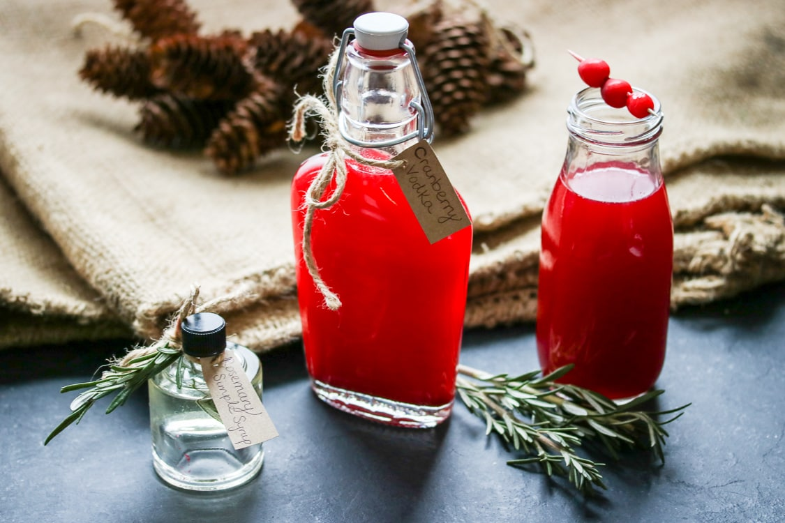 If you've never tried a rosemary vodka cocktail, here's your chance! All you need is a bag of cranberries, a bottle of vodka, and a blender. For this recipe I've added homemade rosemary simple syrup to create a festive holiday cocktail!