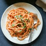 Creamy Roasted Red Pepper and Sun-Dried Tomato Bucatini
