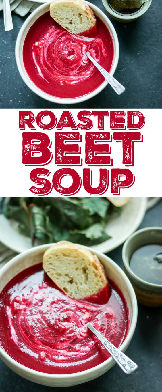 This gorgeous roasted beet soup recipe is so quick and easy - just roast some veggies, simmer with broth, then puree and serve topped with LOTS of sour cream!