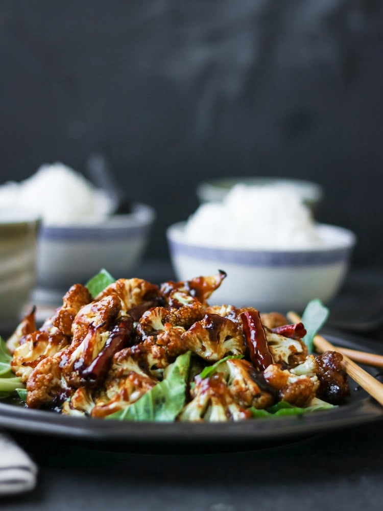 Baked instead of fried, this General Tso's Cauliflower is easy, healthy, and full of flavor!