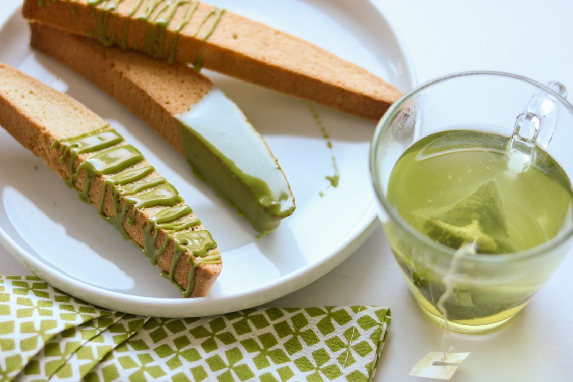 Treat yourself (or a friend!) with these easy matcha-glazed biscotti!