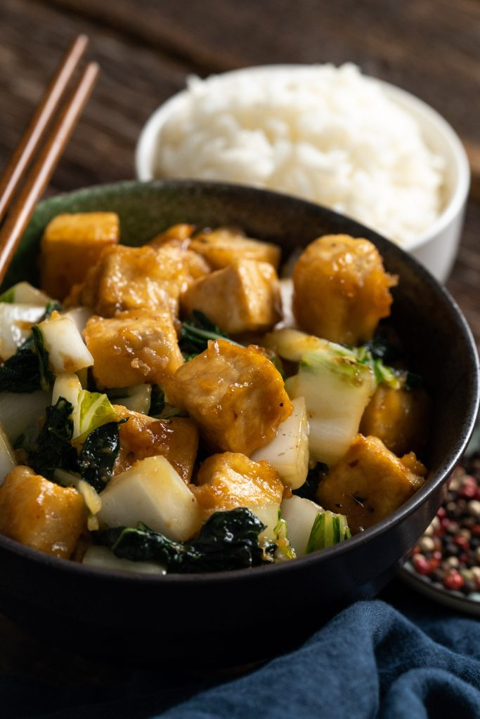 This is a delicious tofu with bok choy vegan recipe!