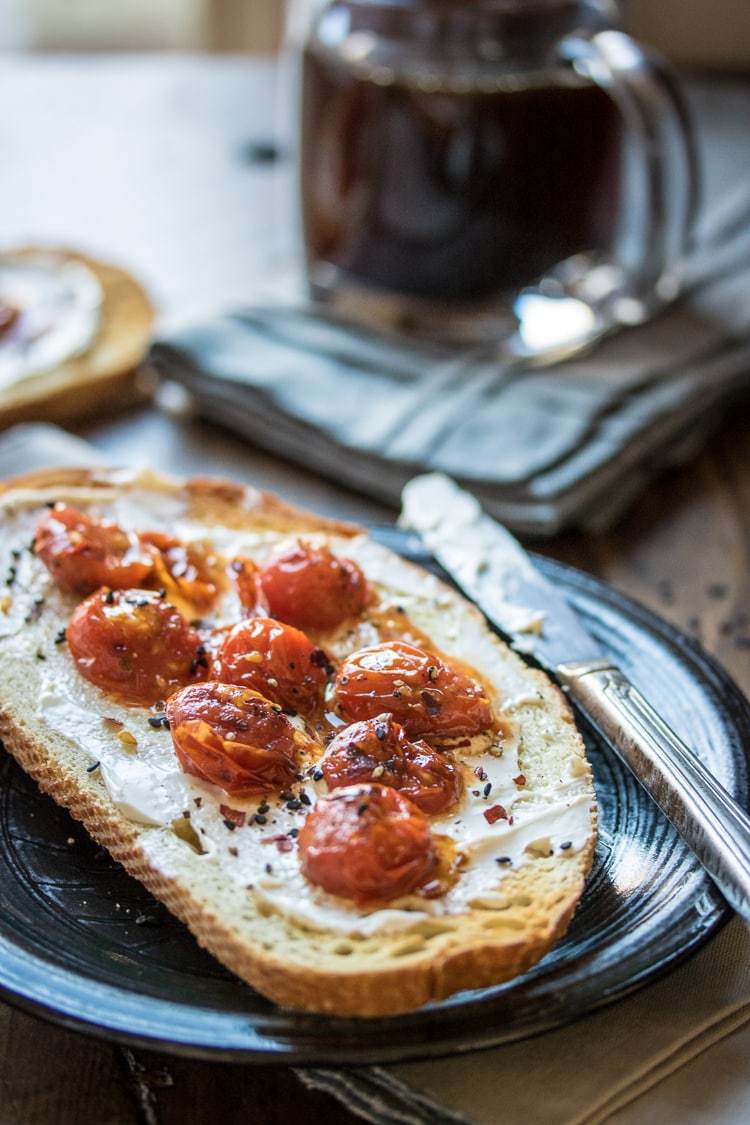 A simple snack or breakfast recipe for mascarpone toast with burst tomatoes!