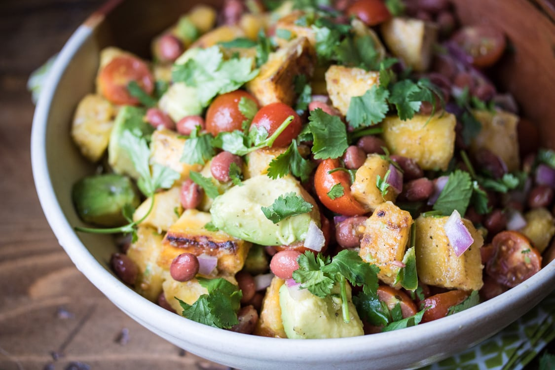 Caribbean Plantain and Avocado Salad: This dish of fried plantains, avocado, red beans and tomatoes is perfect for a vacation-worthy meal!