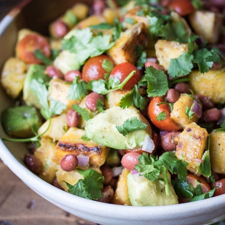Caribbean Plantain & Avocado Salad - a vacation in a bowl!