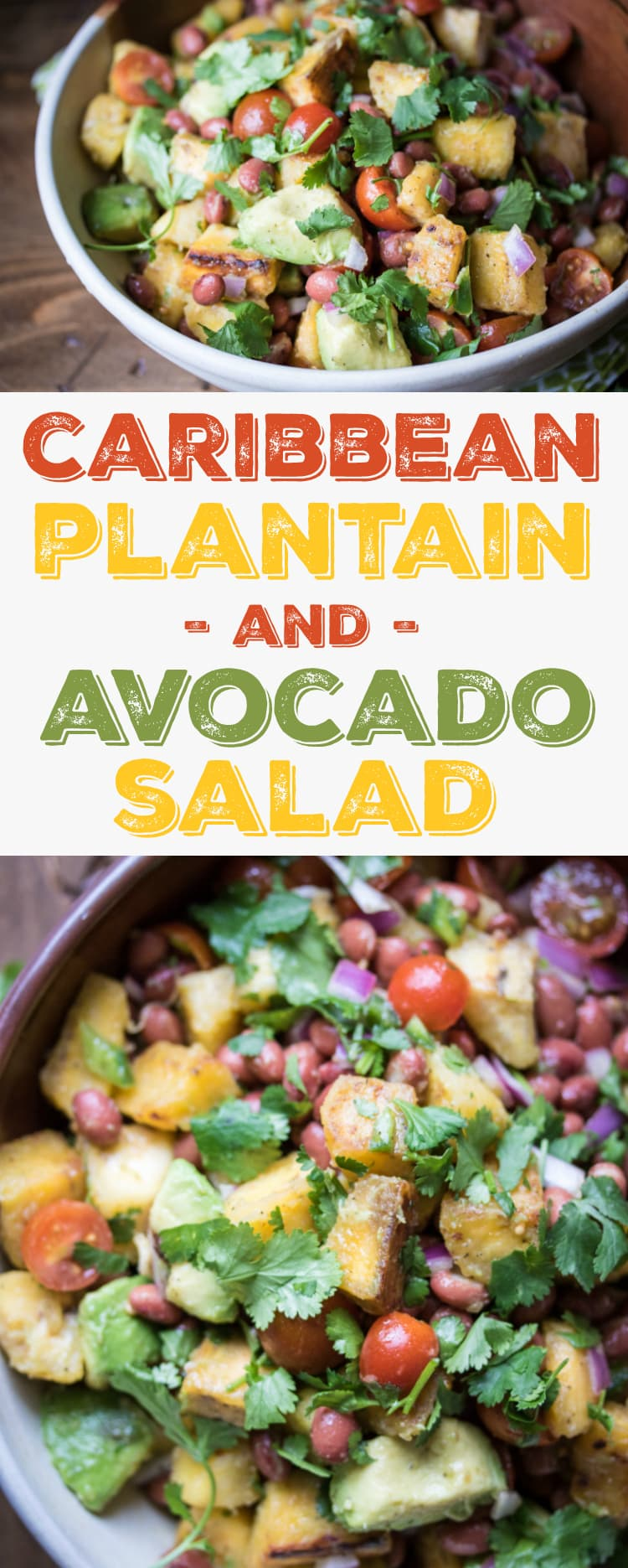 Caribbean Plantain & Avocado Salad - a vacation in a bowl!