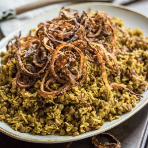 Spiced Lentils and Rice with Fried Onions (Mejadra)