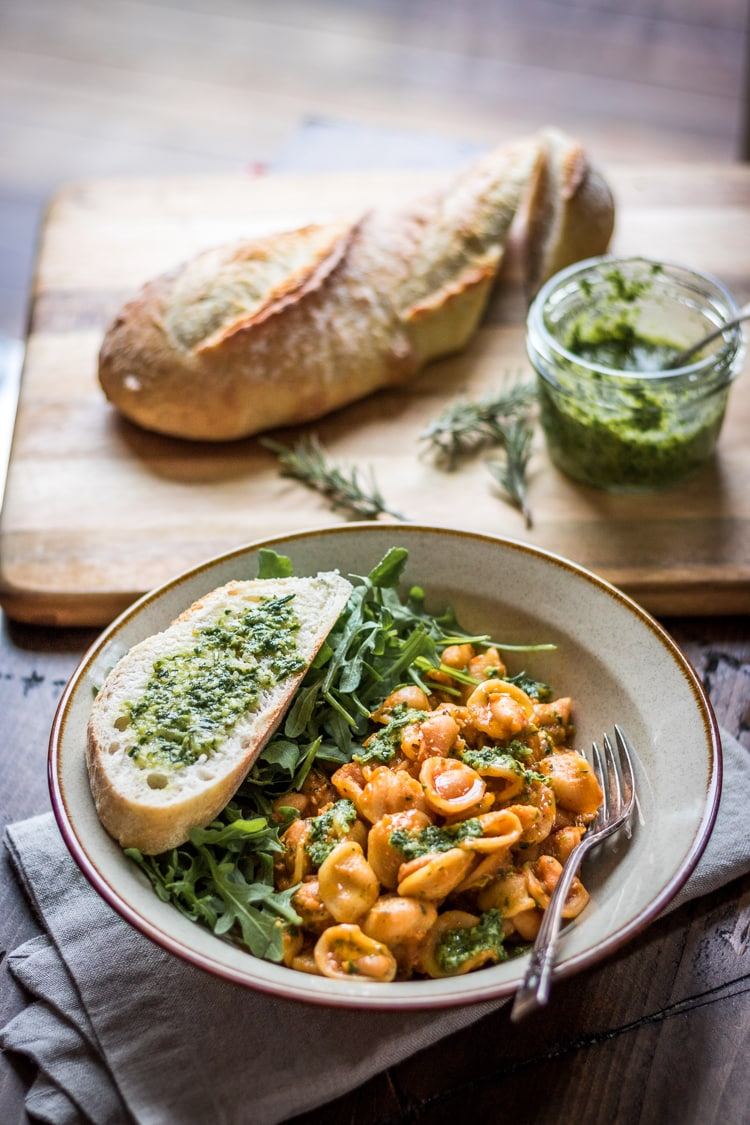 Pasta and White Beans with Rosemary Pesto: Tender beans cozy up with hearty pasta and fragrant pesto - a 30 minute weeknight meal!