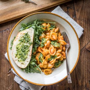 Tender beans cozy up with hearty pasta and fragrant pesto - a 30 minute weeknight meal!