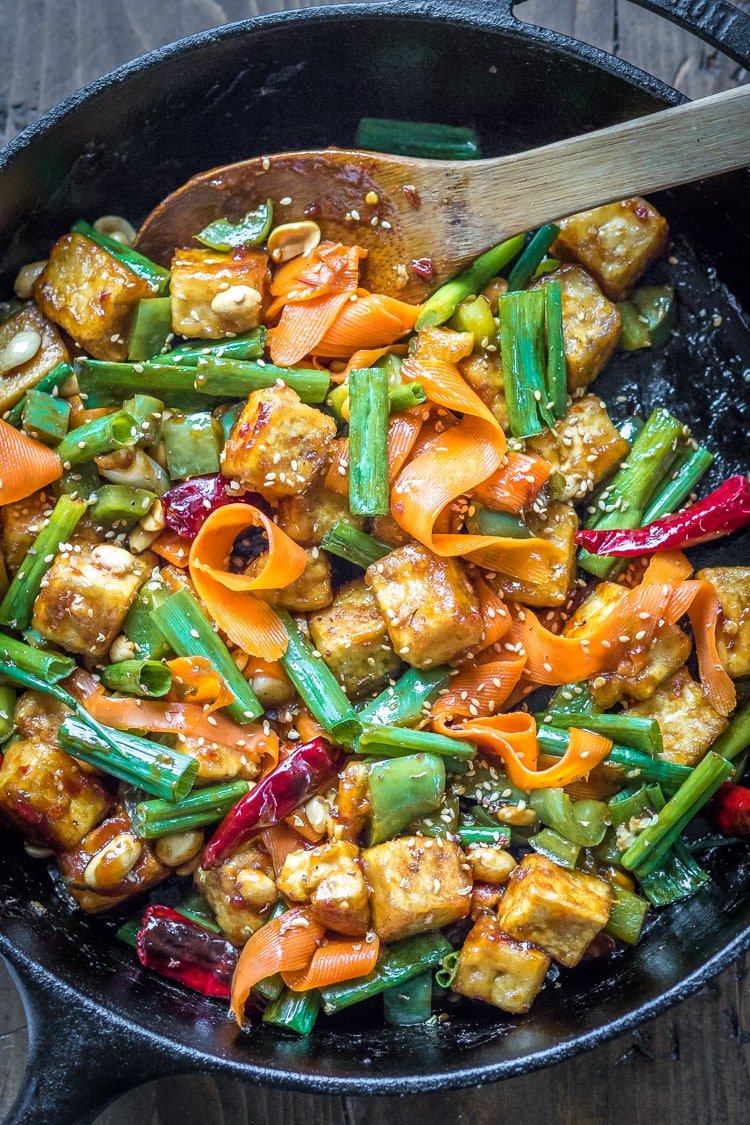 This spicy Tofu with Hoisin Sauce Stir Fry is loaded with veggies and covered in a sticky sauce.