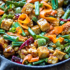 This spicy Hoisin Tofu Stir Fry is loaded with veggies and covered in a sticky sauce.