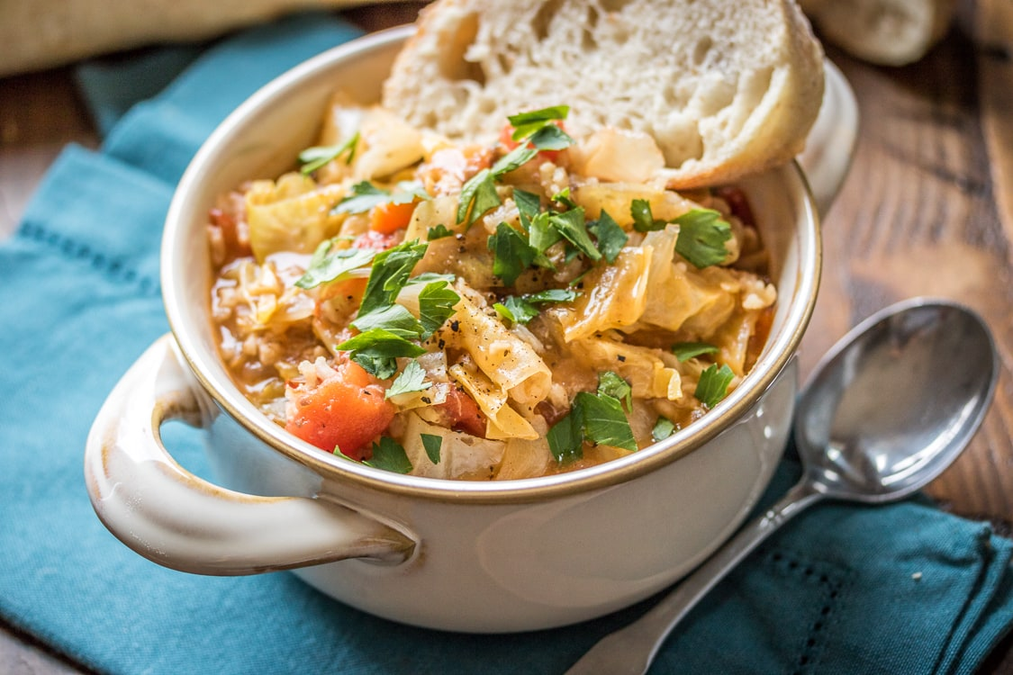 This vegetarian take on cabbage roll soup will stick to your ribs and warm you right up!
