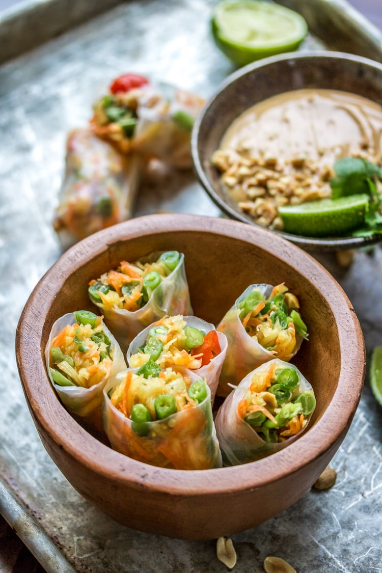 Thai Style Papaya Salad Rolls