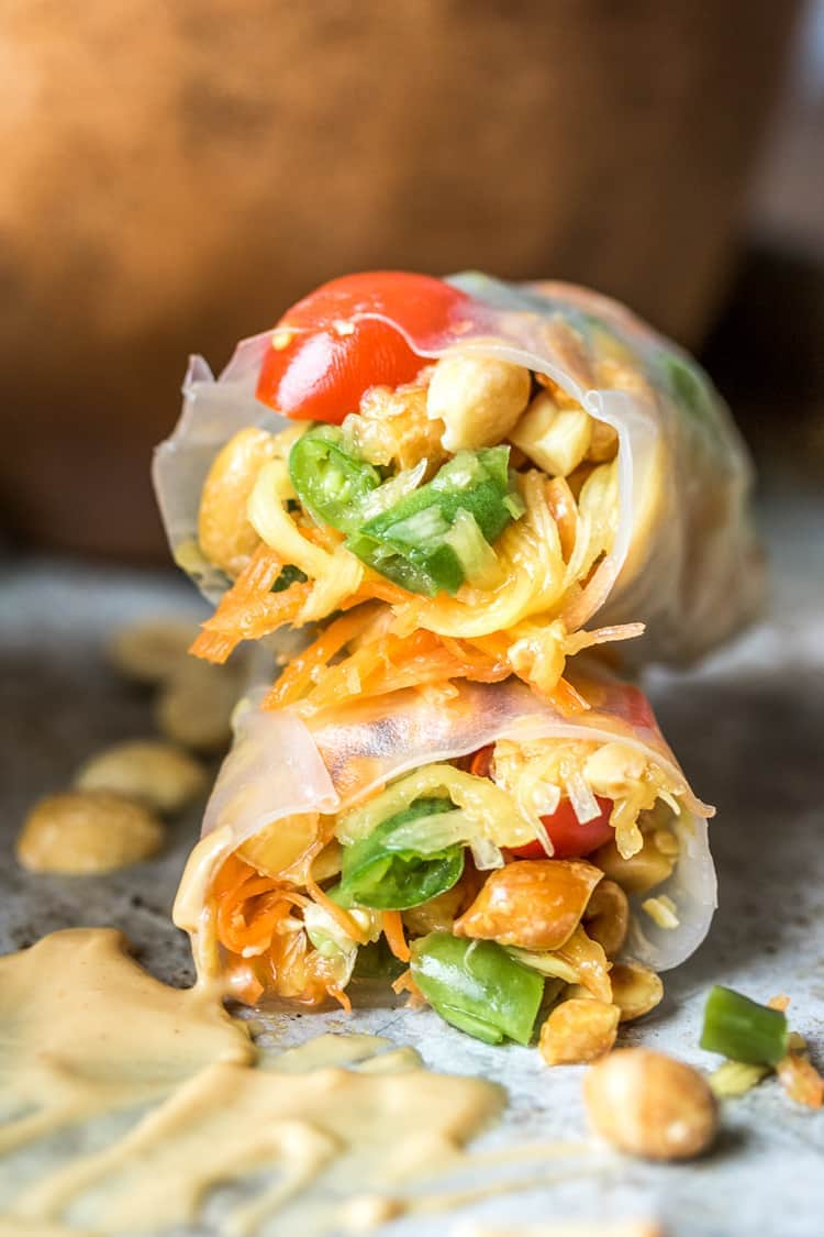 Thai Style Papaya Salad Rolls - The Wanderlust Kitchen