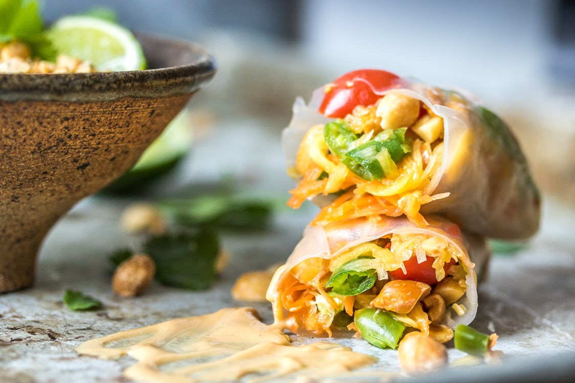 When you can't decide between fresh rolls and papaya salad, make papaya salad rolls!