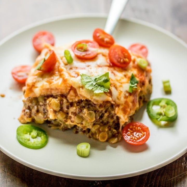 Vegetarian Lentil Enchilada Casserole