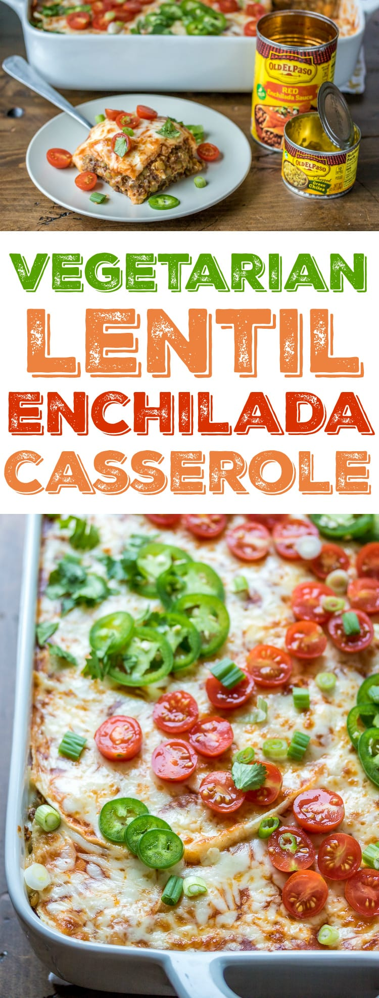 For a meatless alternative to traditional enchiladas, whip up this easy Lentil Enchilada Casserole!