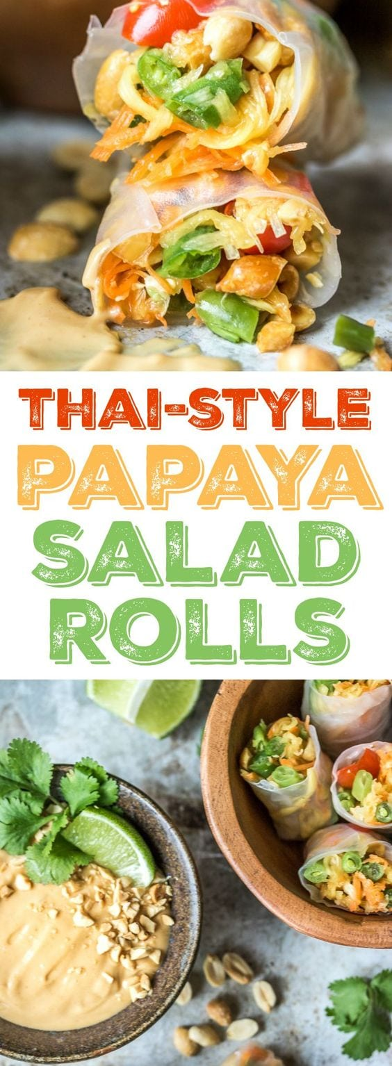 This Thai Style Papaya Salad Rolls recipe wraps up green beans, carrots, tomatoes, green papaya and peanuts with a peanut sauce for a delicious appetizer when you can't decide between fresh rolls and papaya salad!vvvvvvv