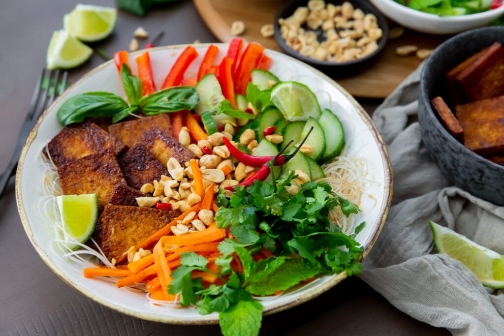 This Vegan Bún Chay Vietnamese noodle salad recipe is a delicious and healthy dish you can make in 30 minutes.