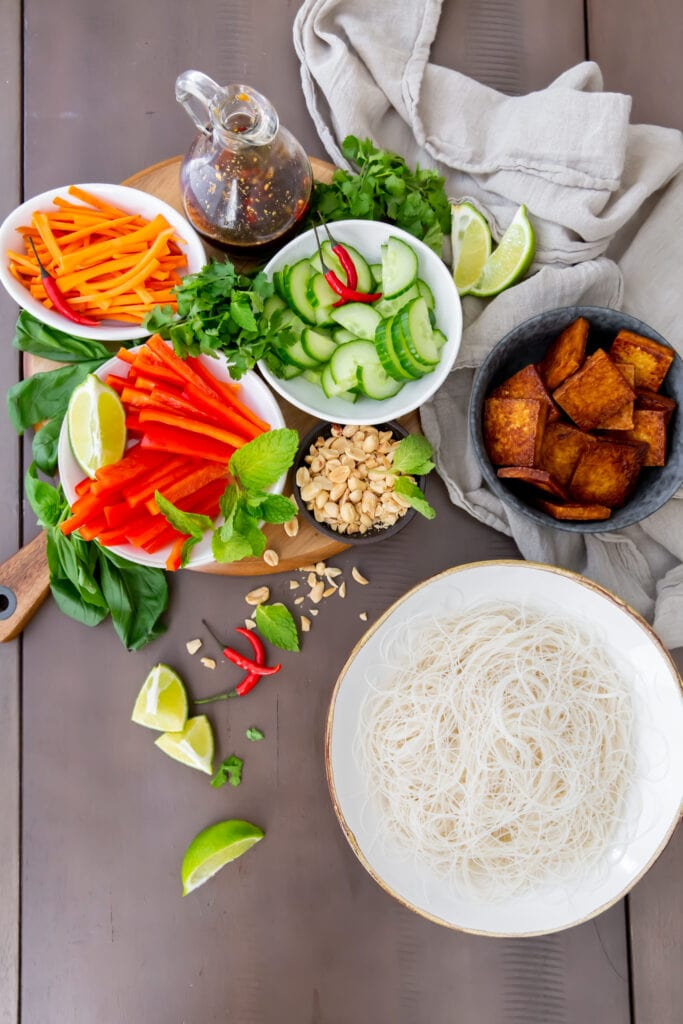 Looking for Vegetarian Vietnamese recipes? This Vegan Bún Chay Vietnamese noodle salad recipe is a delicious and healthy dish you can make in 30 minutes.