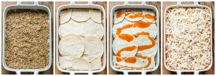 For a meatless alternative to traditional enchiladas, whip up this easy and delicious vegetarian Lentil Enchilada Casserole recipe!
