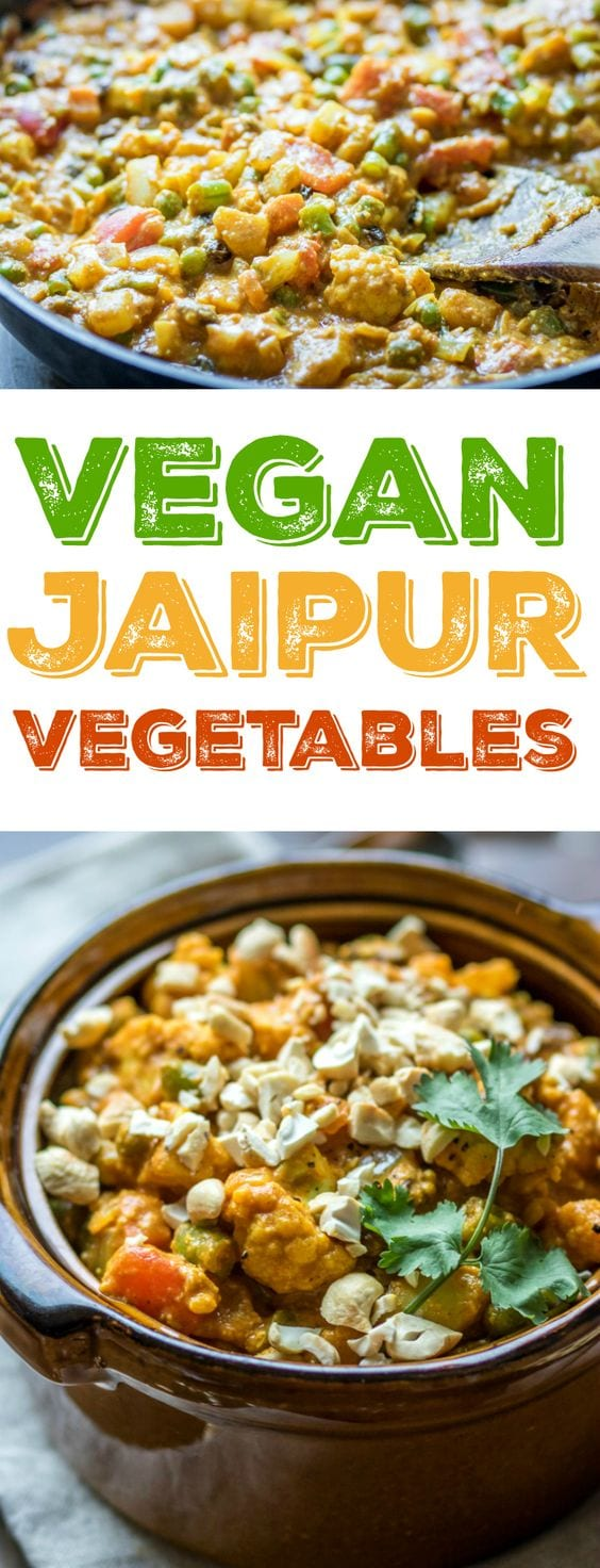 Tender potatoes, cauliflower, green beans, peas, carrots, tomatoes, onion and a creamy cashew sauce make this Jaipur Vegetables recipe irresistible!